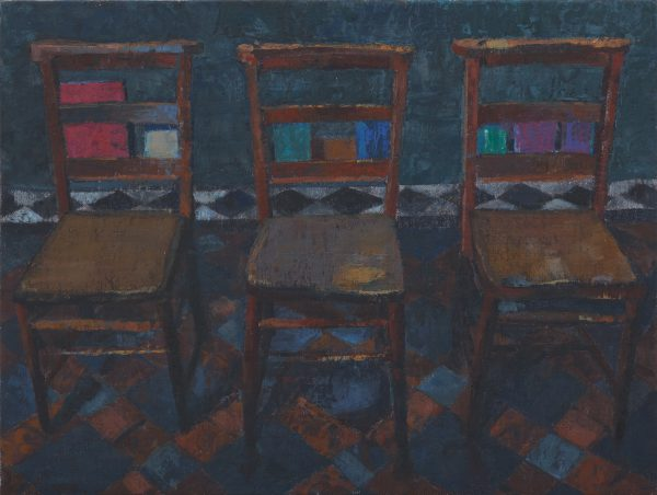 Three Chairs, Oil, Linen on Panel, 9 x 26 cm