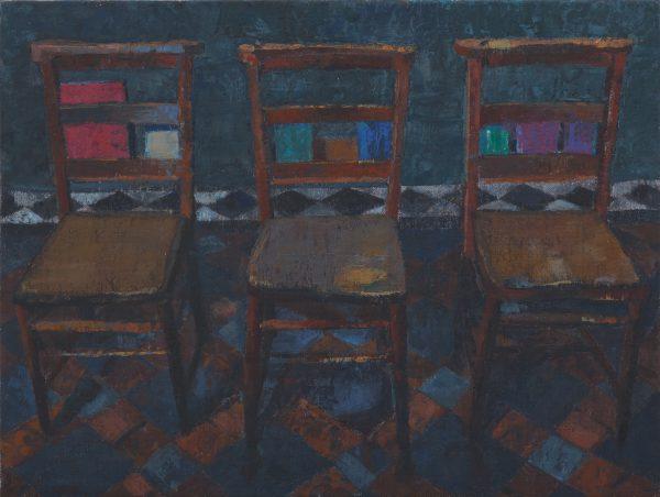 Three Chairs, Oil, Linen on Panel, 9 x 26 cm