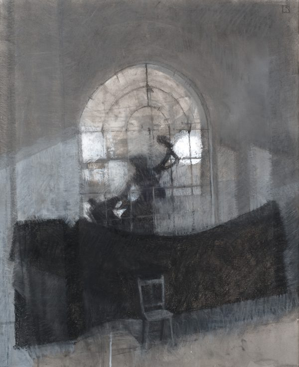 Liferoom, Charcoal, Ink, Gouache and Chalk, 56 x 46 cm