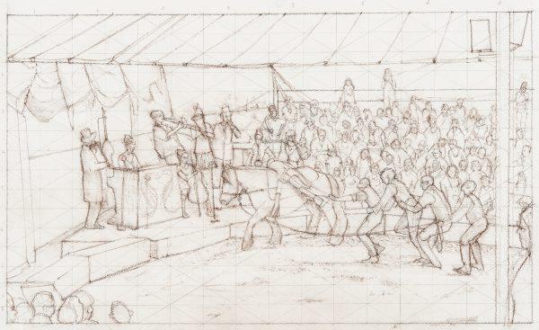 Ballyhoo, Study, Conte, 31 x 53 cm