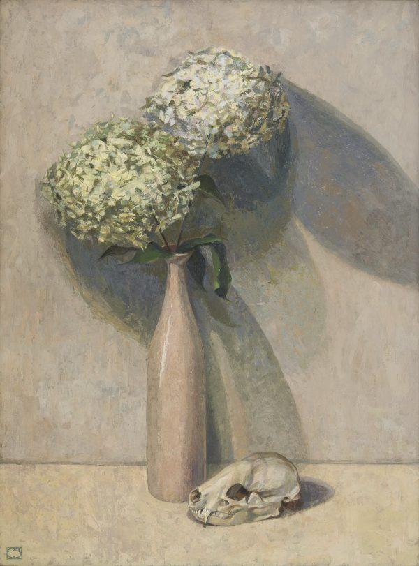 Hydrangeas and Badger Skull, Oil on Gesso Panel, 75 x 59 cm