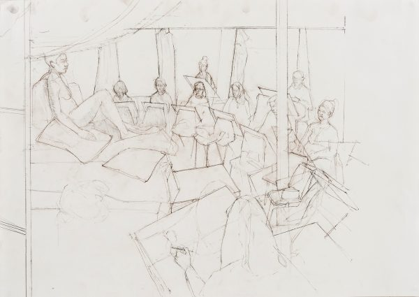 Life Class, Graphite and Conte, 59 x 42 cm