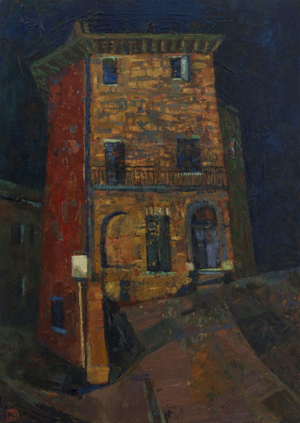 Montecastello, Night, Oil on Gesso Panel, 35 x 20 cm