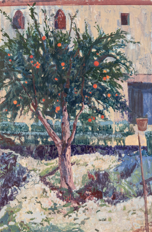 Pomegranate Tree, Tempera on Gesso Panel, 44 x 30 cm