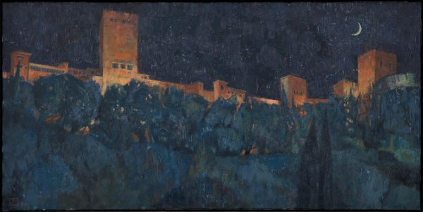 Alhambra, Night, Oil on Linen, 30 x 60 cm